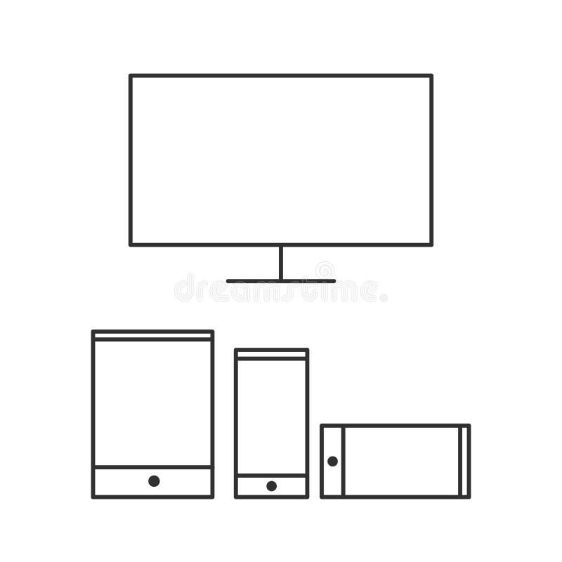 Los dispositivos móviles aislaron el solo icono linear plano mínimo en colores blancos y negros Línea icono del vector para las p libre illustration