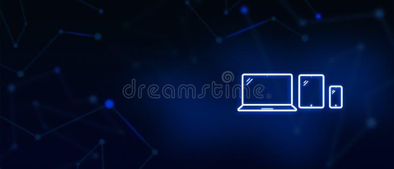 Los dispositivos, pantalla de ordenador portátil, ipad, móvil, exhibición de la tableta de Digitaces, medio social, nos entran en ilustración del vector