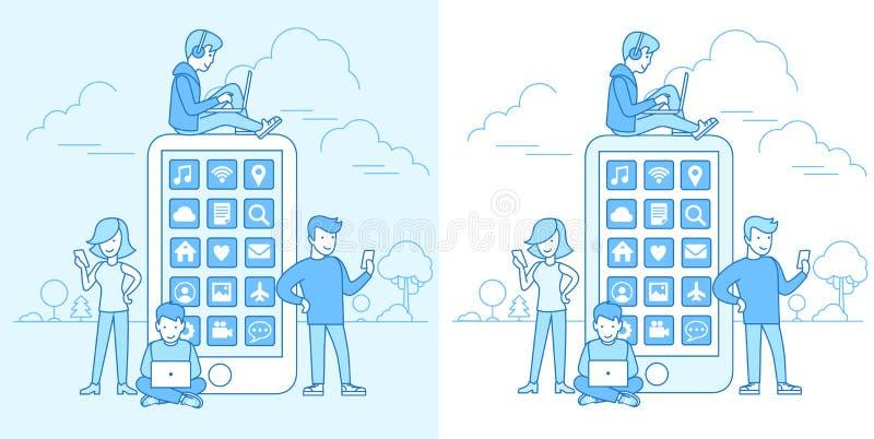 Los dispositivos planos lineares de la gente sientan el móvil del vector del teléfono libre illustration