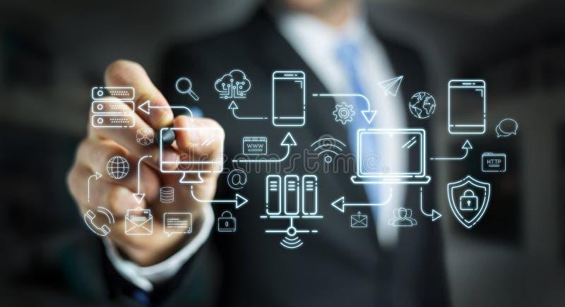 Los dispositivos y los iconos de la tecnología del dibujo del hombre de negocios enrarecen la línea interfaz ilustración del vector