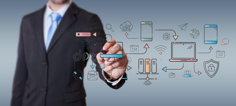 Los dispositivos y los iconos de la tecnología del dibujo del hombre de negocios enrarecen la línea interfaz libre illustration