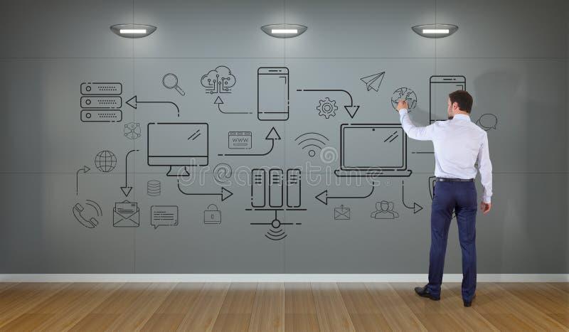 Los dispositivos y los iconos de la tecnología del dibujo del hombre de negocios enrarecen la línea interfaz o stock de ilustración
