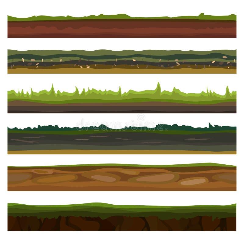 Los diversos argumentos, suelos y tierra inconsútiles fijaron para los juegos de UI Hierba verde superficial Ilustración del vect ilustración del vector