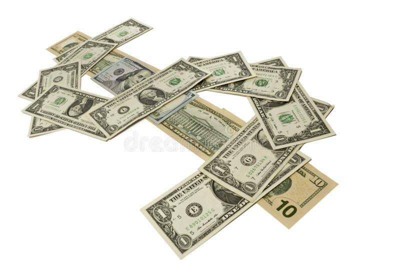 Los diversos billetes de dólar alinearon para formar el símbolo del dólar foto de archivo libre de regalías