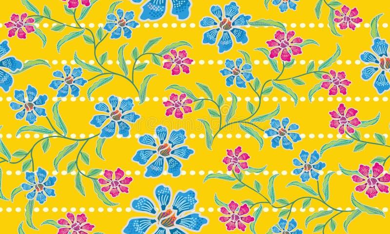 Los diversos diseños de adornos indonesios típicos del batik se mezclan con los estampados de flores en una forma abstracta ilustración del vector