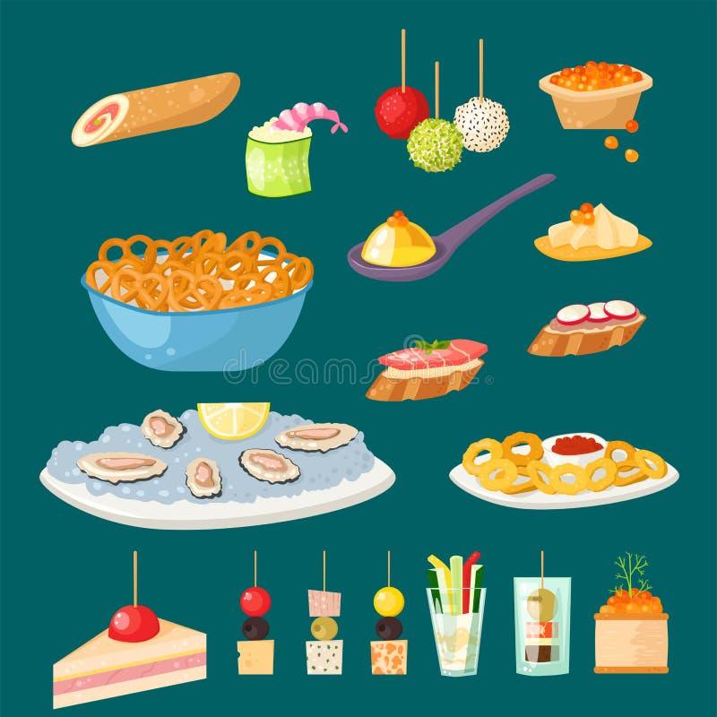 Los diversos pescados y queso del aperitivo de los bocados del canape de la carne banquetean los bocados en el ejemplo del vector stock de ilustración