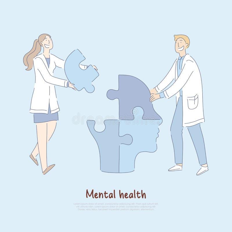 Los doctores alegres que montaban la cabeza humana formaron el rompecabezas, metáfora mental del tratamiento, bandera de la profe ilustración del vector