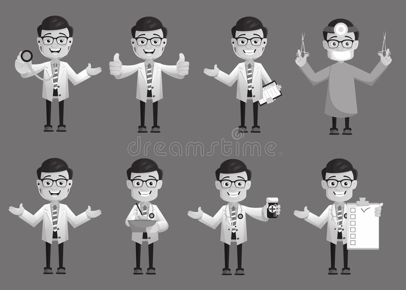 Los doctores cómicos Expressions y colección de los gestos libre illustration