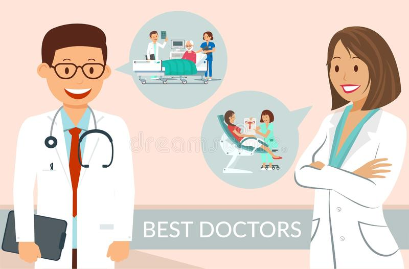 Los doctores Flat Vector Poster Template del mejor de la clínica libre illustration