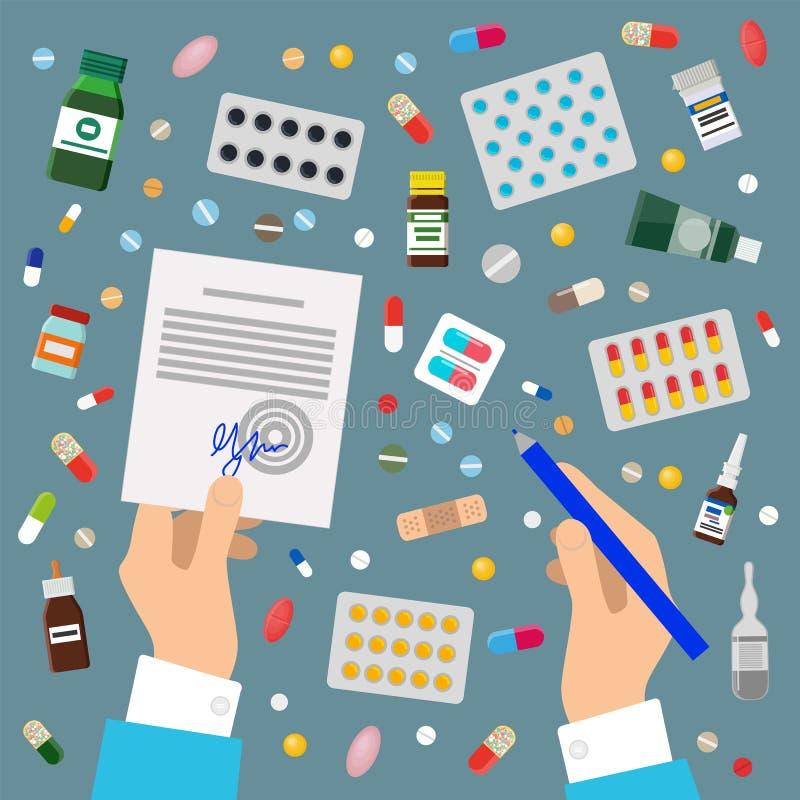 Los doctores Hands Sign Prescription y medicamentos stock de ilustración