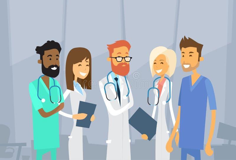 Los doctores intermedios Team Hospital del grupo stock de ilustración