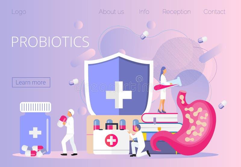 Los doctores minúsculos dan el estómago prebiotic, lactobacilo Concepto de las bacterias de Probiotics ilustración del vector