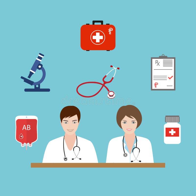 Los doctores son un hombre y una mujer Fondo de la atención sanitaria plana y de la investigación médica Concepto de sistema sani ilustración del vector