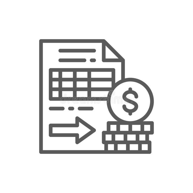 Los documentos con el dinero, opciones, futuros alinean el icono ilustración del vector