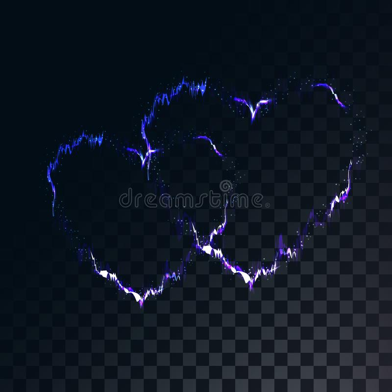 Los dos corazones eléctricos mágicos hermosos de la energía brillante del extracto en una oscuridad translúcida, ajustaron el fon libre illustration
