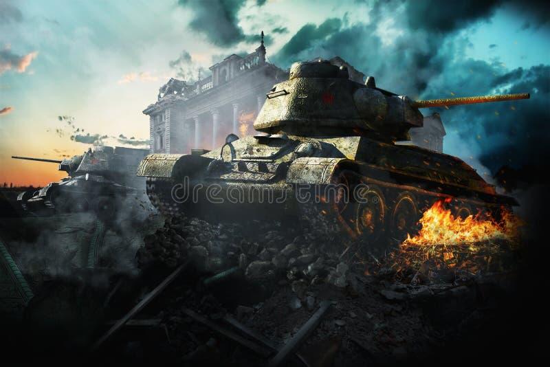 Los dos tanques destruidos en el área ilustración del vector