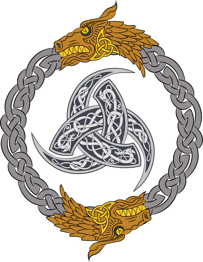 Los dragones de oro en la guirnalda de plata con el cuerno triple de Odin adornaron con los ornamentos de Scandinavic ilustración del vector