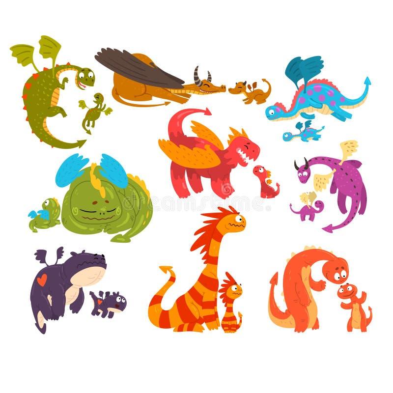 Los dragones maduros y los dragones del bebé fijaron, las familias de ejemplo mítico del vector de los personajes de dibujos anim ilustración del vector