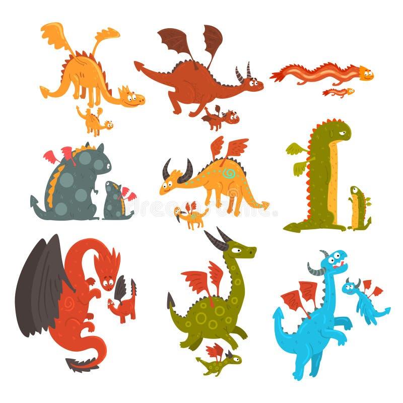 Los dragones maduros y los pequeños dragones del bebé fijaron, las madres cariñosas y sus niños, familias de historieta mítica de stock de ilustración