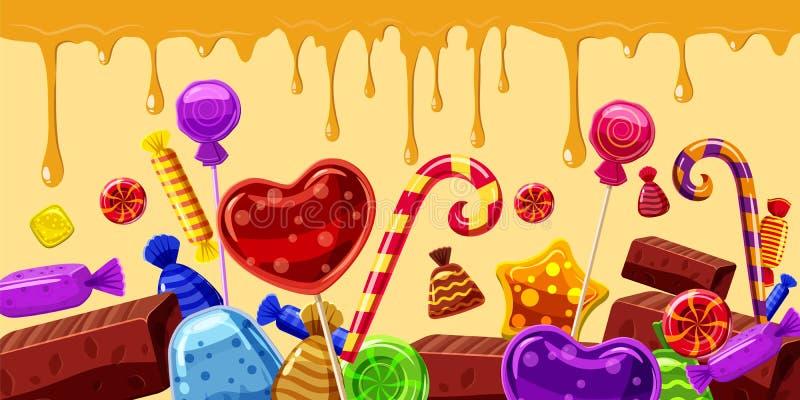 Los dulces apelmazan la linea horizontal de la bandera, estilo de la historieta stock de ilustración