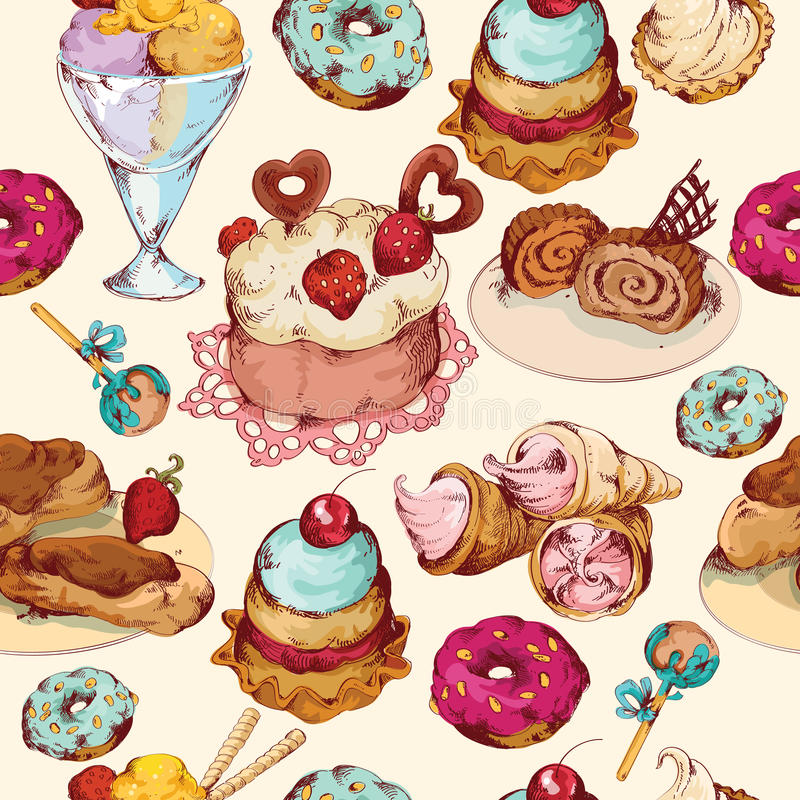 Los dulces bosquejan el modelo inconsútil coloreado libre illustration