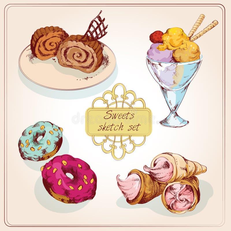 Los dulces bosquejan el sistema coloreado stock de ilustración