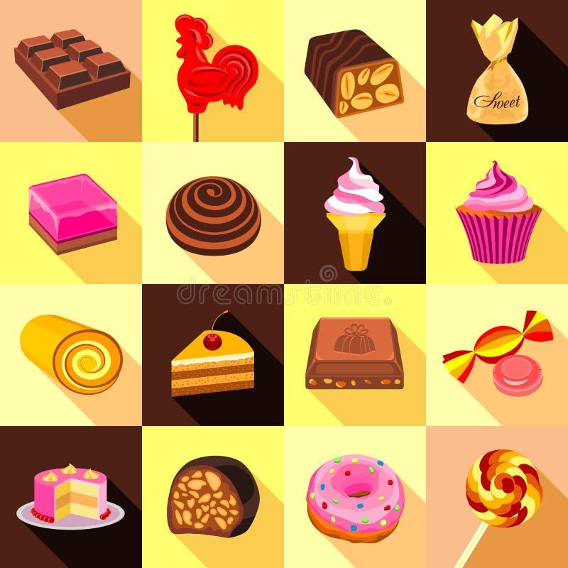 Los dulces, el chocolate y los iconos de las tortas fijaron, estilo plano stock de ilustración