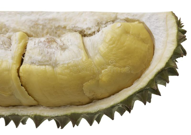 Los Durians cortaron a través para ver la carne amarilla En el blackground blanco imágenes de archivo libres de regalías