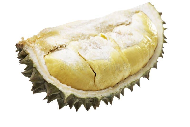 Los Durians cortaron a través para ver la carne amarilla fotos de archivo libres de regalías
