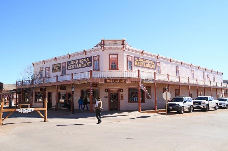 Los E.E.U.U., Arizona/piedra sepulcral: Hotel/restaurante históricos foto de archivo libre de regalías