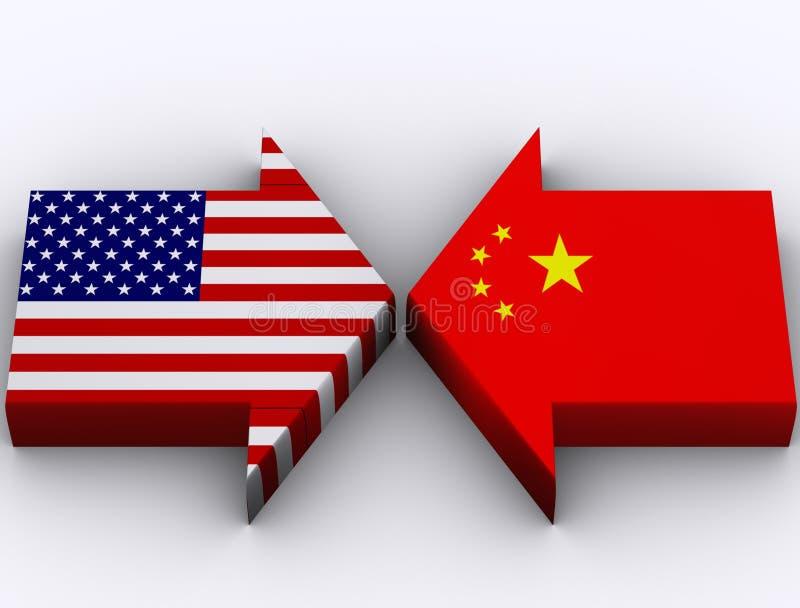 Los E.E.U.U. contra China ilustración del vector