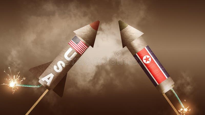 Los E.E.U.U. contra Corea del Norte  stock de ilustración