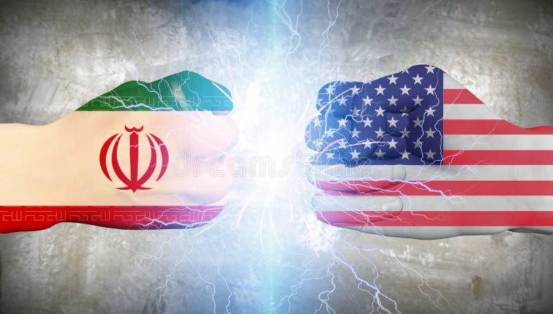Los E.E.U.U. contra Irán ilustración del vector