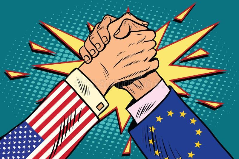 Los E.E.U.U. contra la confrontación de la lucha del pulso de la UE libre illustration