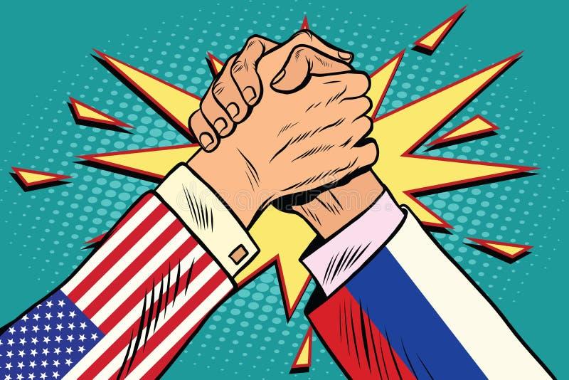 Los E.E.U.U. contra la confrontación de la lucha del pulso de Rusia stock de ilustración