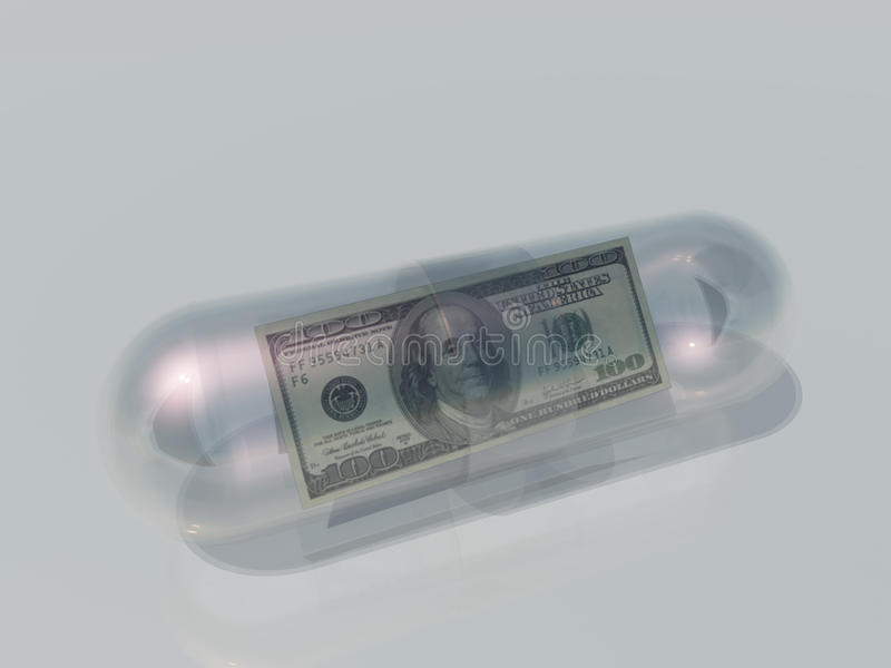 Los E.E.U.U. 100 dólares en cápsula stock de ilustración