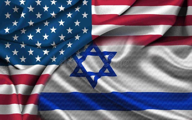 Los E.E.U.U. Israel Flag fotografía de archivo
