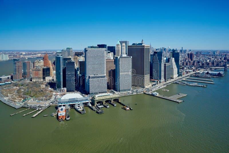 Los E.E.U.U., Nueva York, 29 03 2007: Vistas de Manhattan del helicopte imagen de archivo libre de regalías