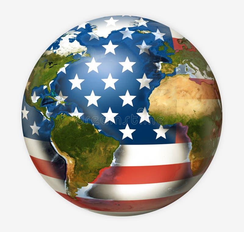 Los E.E.U.U. señalan el planeta por medio de una bandera global mundial 3d rinden Elementos de este ima libre illustration