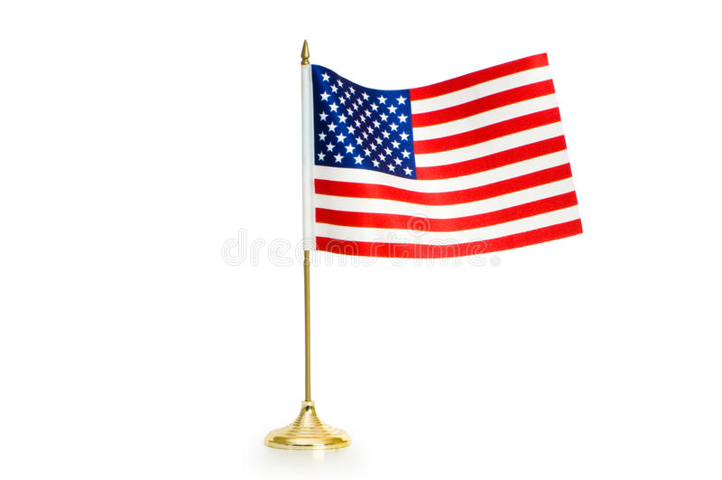 Los E.E.U.U. señalan por medio de una bandera aislado en el blanco fotografía de archivo libre de regalías