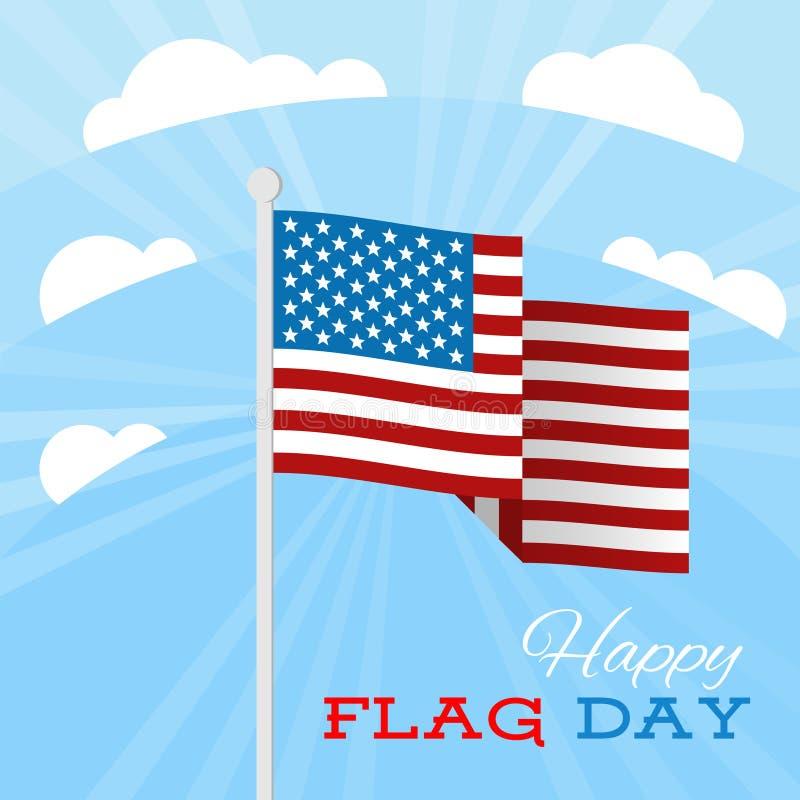 Los E.E.U.U. señalan por medio de una bandera con las barras y estrellas en un fondo del cielo azul Ejemplo del vector para el dí stock de ilustración