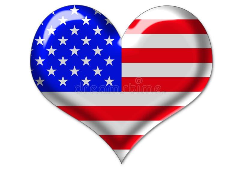 Los E.E.U.U. señalan por medio de una bandera en corazón libre illustration