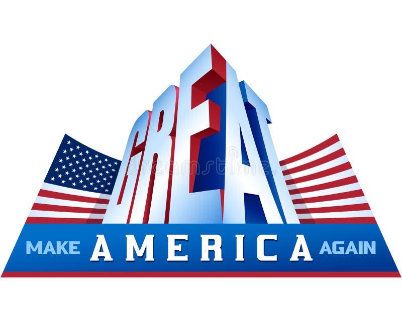 Los E.E.U.U. señalan por medio de una bandera hacen América gran otra vez palabra orgullosa del patriotismo stock de ilustración