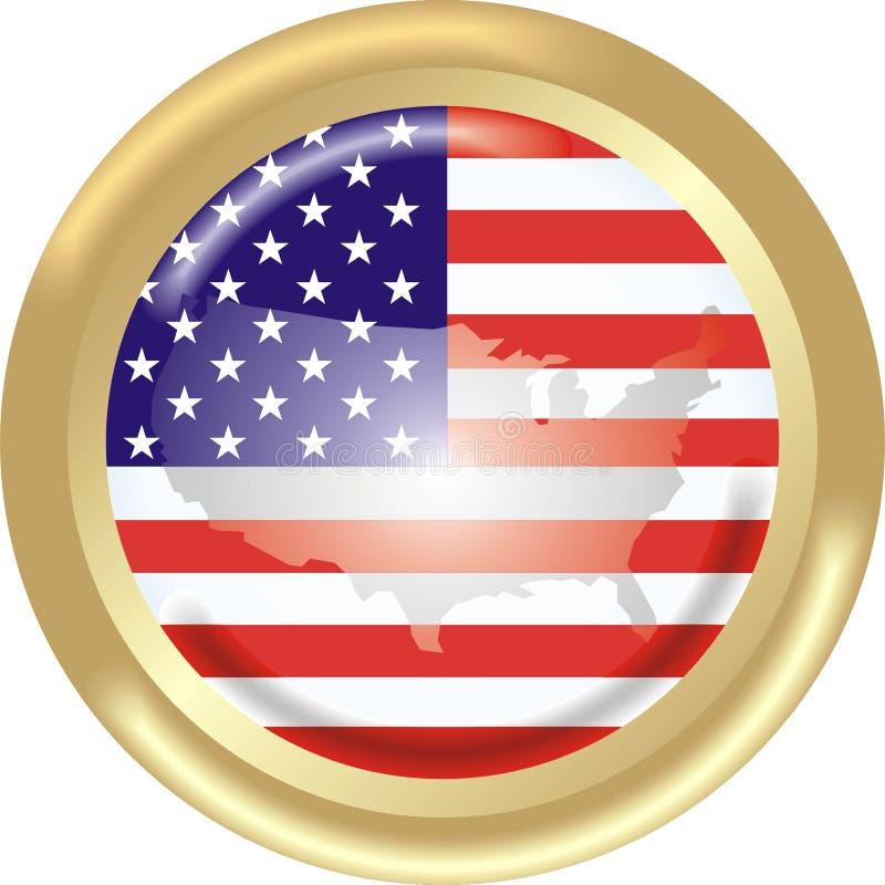 Los E.E.U.U. señalan por medio de una bandera y asocian ilustración del vector