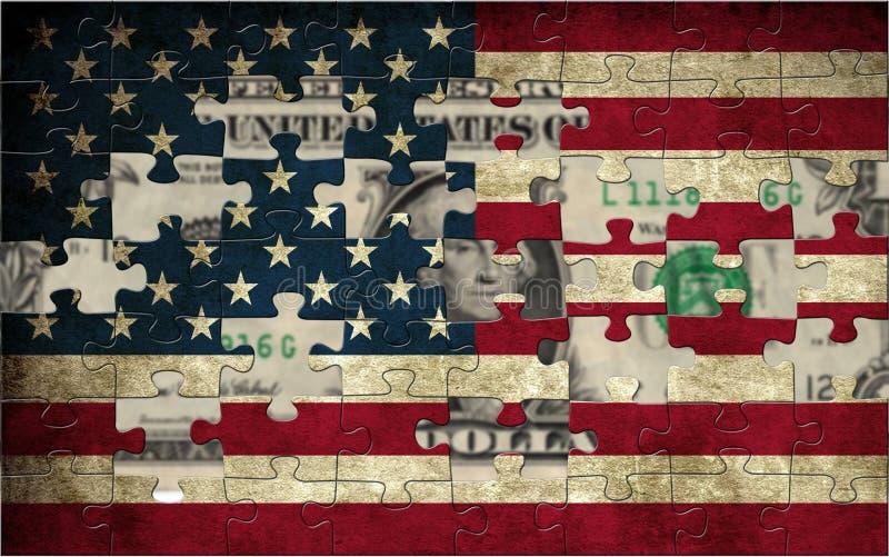 Los E.E.U.U. señalan por medio de una bandera y dólar imagenes de archivo