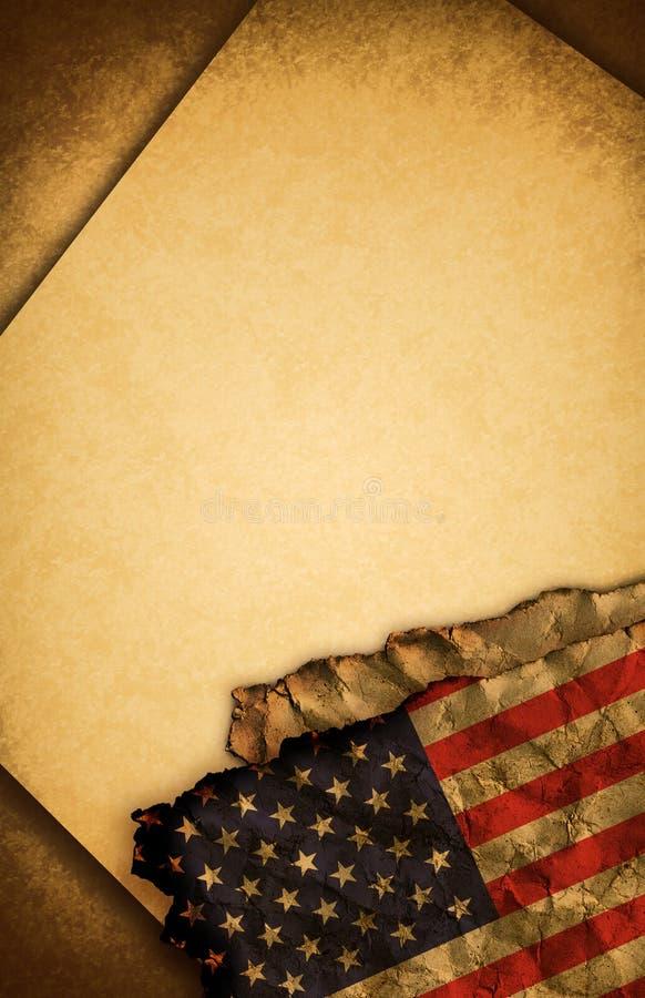 Los E.E.U.U. señalan por medio de una bandera y papel viejo ilustración del vector
