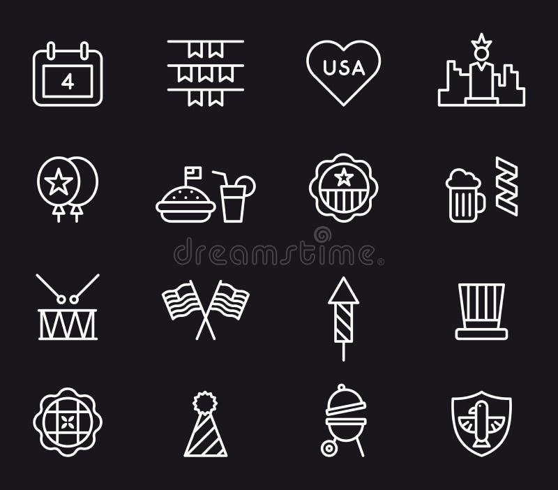 Los E.E.U.U. 4tos de los iconos de julio ilustración del vector