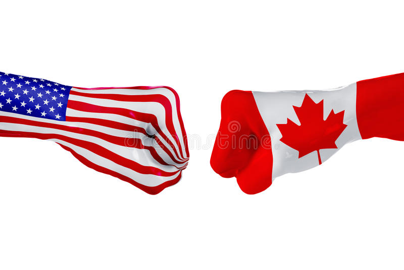 Los E.E.U.U. y bandera de Canadá Lucha del concepto, competencia del negocio, conflicto o eventos que se divierten foto de archivo libre de regalías
