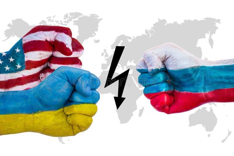 Los E.E.U.U. y Ucrania contra Rusia imagen de archivo libre de regalías