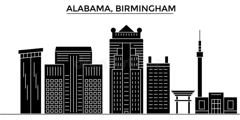 Los E.E.U.U., Alabama El horizonte de la ciudad del vector de la arquitectura de Birmingham, paisaje urbano del viaje con las señ stock de ilustración